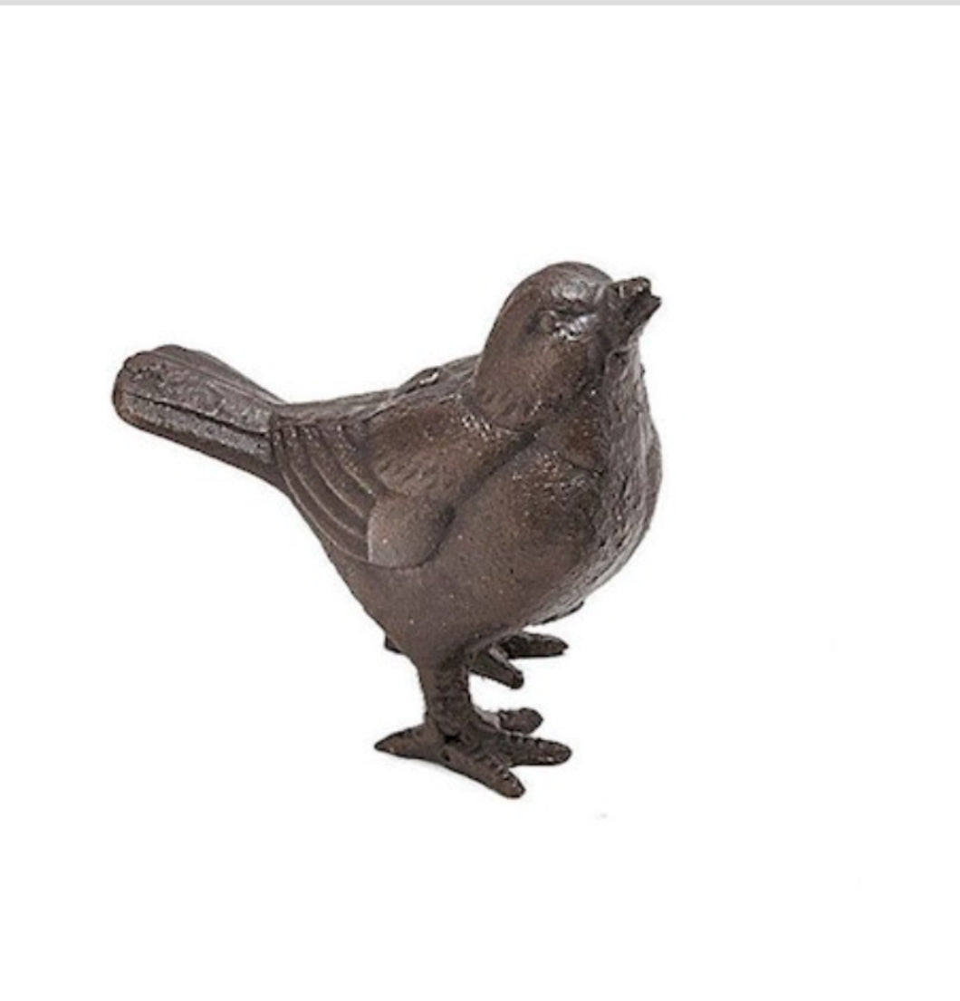 Pair of Cast Iron Sparrow Ornaments for Home and Garden, Plants Post and Patio by Ascalon