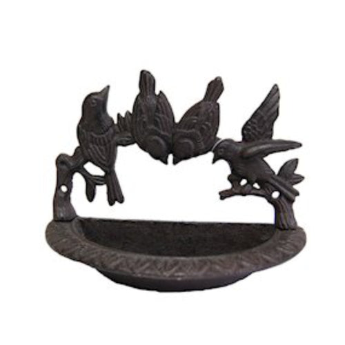 Cast Iron Decorative Wall Mounted Birdbath with Bird Details by Ascalon