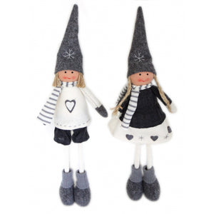 Pair of Christmas Boy & Girl Standing Felt Decorative Figures Grey & Cream 40cm