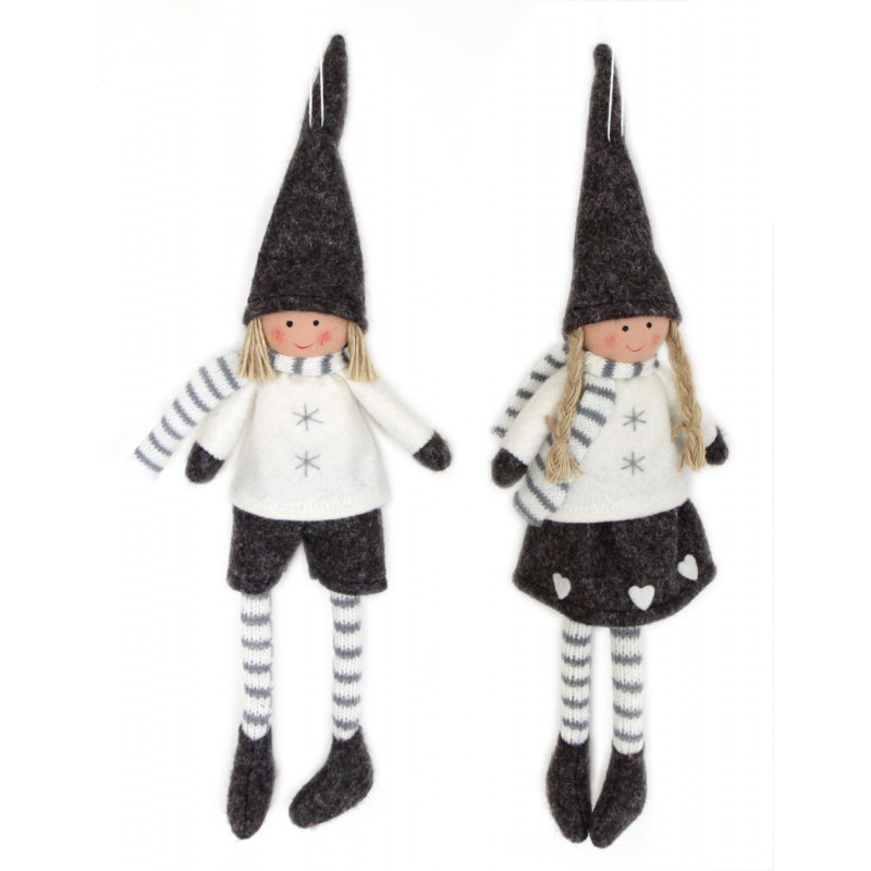 Pair of Boy & Girl Christmas Sitting/Hanging Felt Decorations Grey & Cream