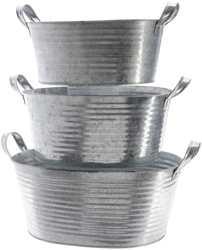 Set of 3 Rustic Zinc Metal Tubs for Plants, Displays, Ice and Drinks-The Useful Shop