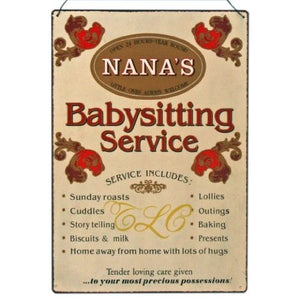 Nanas Babysitting Service Large Wall Sign-The Useful Shop