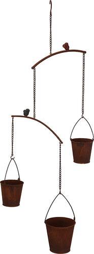 Rustic Metal Hanging Herb or Succulents Garden with 3 Pots and Birds