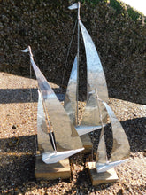Set of 3 Silver Metal Sailboats Display Ornaments by Shoeless Joe