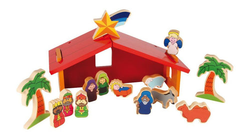 Childrens Colourful Nativity Crib Set