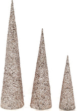 Set of 3 Stylish Large Glitter Cone Christmas Trees with LED Lighting Pale Gold