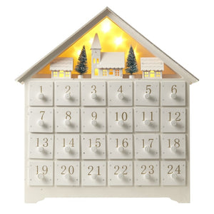 White Wooden Christmas Scene Advent Calendar with LED Lighting-The Useful Shop