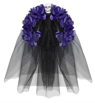 Dia de Los Muertos Halloween Headband with Purple Roses, Skull and Black Veil-The Useful Shop