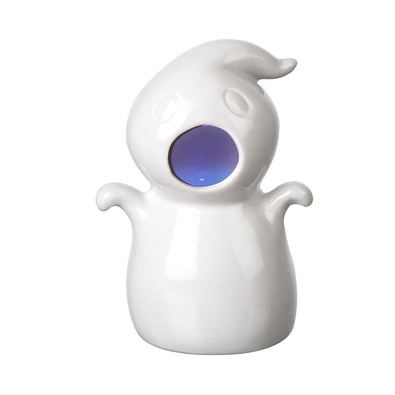 Cute Ceramic White Ghost Halloween Figurine With Led Light Show-The Useful Shop