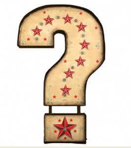 Question Mark Large Vintage Carnival LED Light by Temerity Jones