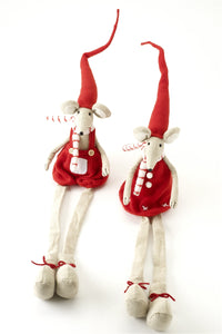 Boy and Girl Christmas Mice Shelf Sitting Dangly Legs Decoration Set