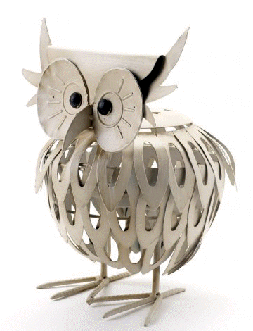 Large Decorative Metal Owl Lantern in Cream By Heaven Sends