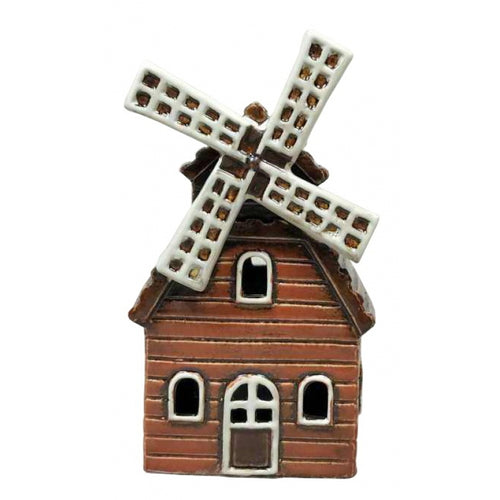 Ceramic Pottery Windmill Ornament with Cut Out Wondows