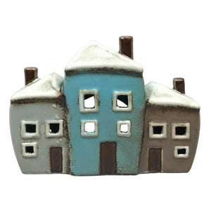 Charming Row of Houses Tealight Votive Holder - Blue and Grey - Pottery House Candle Holder