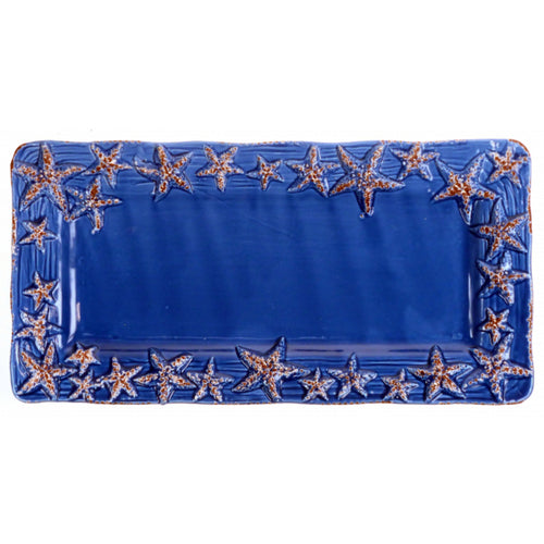 Cobalt Blue Ceramic Sealife Serving Tray with Starfish Design