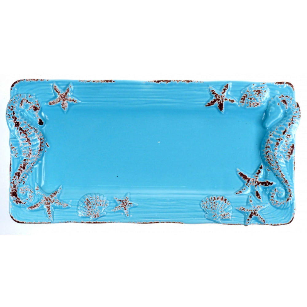 Sky Blue Ceramic Sealife Serving Plate with Seahorses and Stars