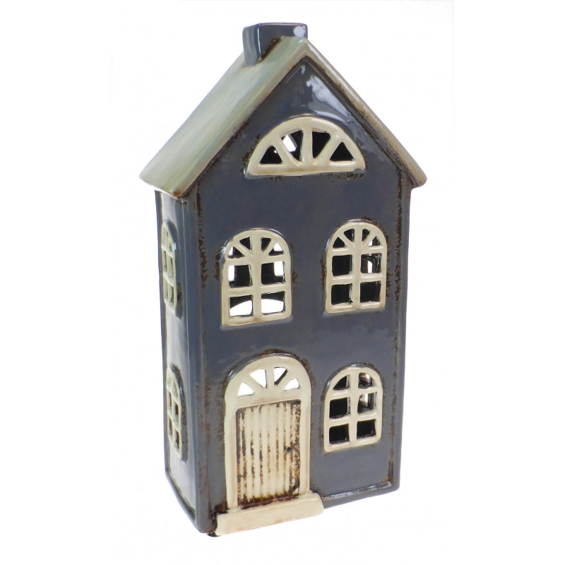 Large Glazed Pottery Town House Candle Lantern - Dark Blue/Grey