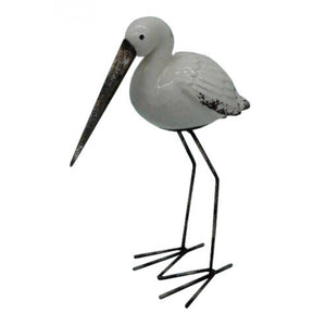 Tall Stoneware and Metal Stork Standing Bird Ornament