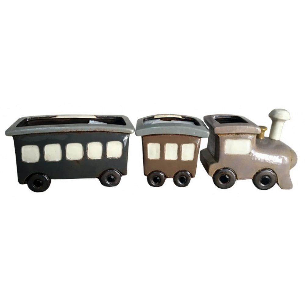 Steam Train Triple Large Ceramic Planter Set