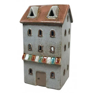 Quay Traders Charming Ceramic Grey House Tealight Votive Holder