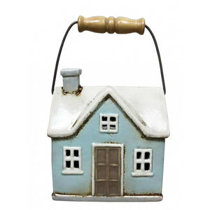 Terraced Cottages Tea Light House with Rustic Wooden Handle