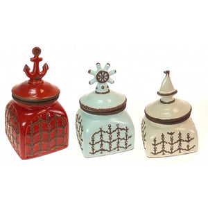Set of 3 Nautical Ceramic Storage Canisters by Kirkland's USA