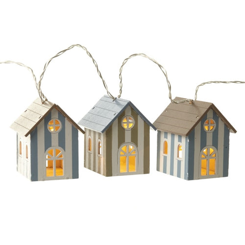 Wooden Striped Beach Huts Lighting Garland with LED-The Useful Shop