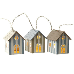 Wooden Striped Beach Huts Lighting Garland with LED