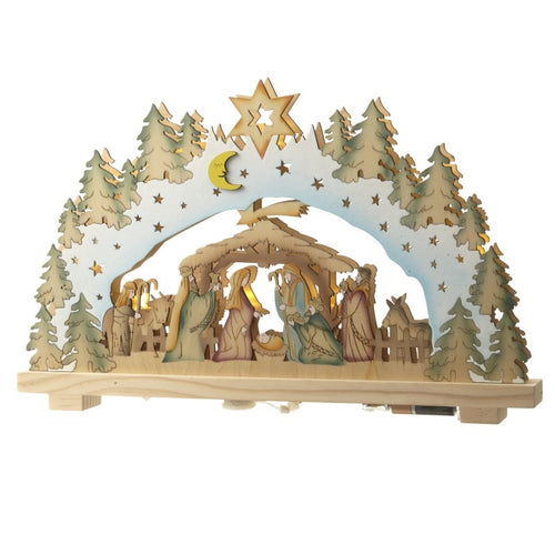 Traditional Christmas Wooden Natural Nativity Scene with Lighting-The Useful Shop