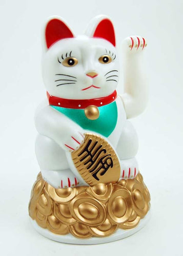 White with Gold Coins Waving Paw Lucky Maneki Neko Fortune Cat