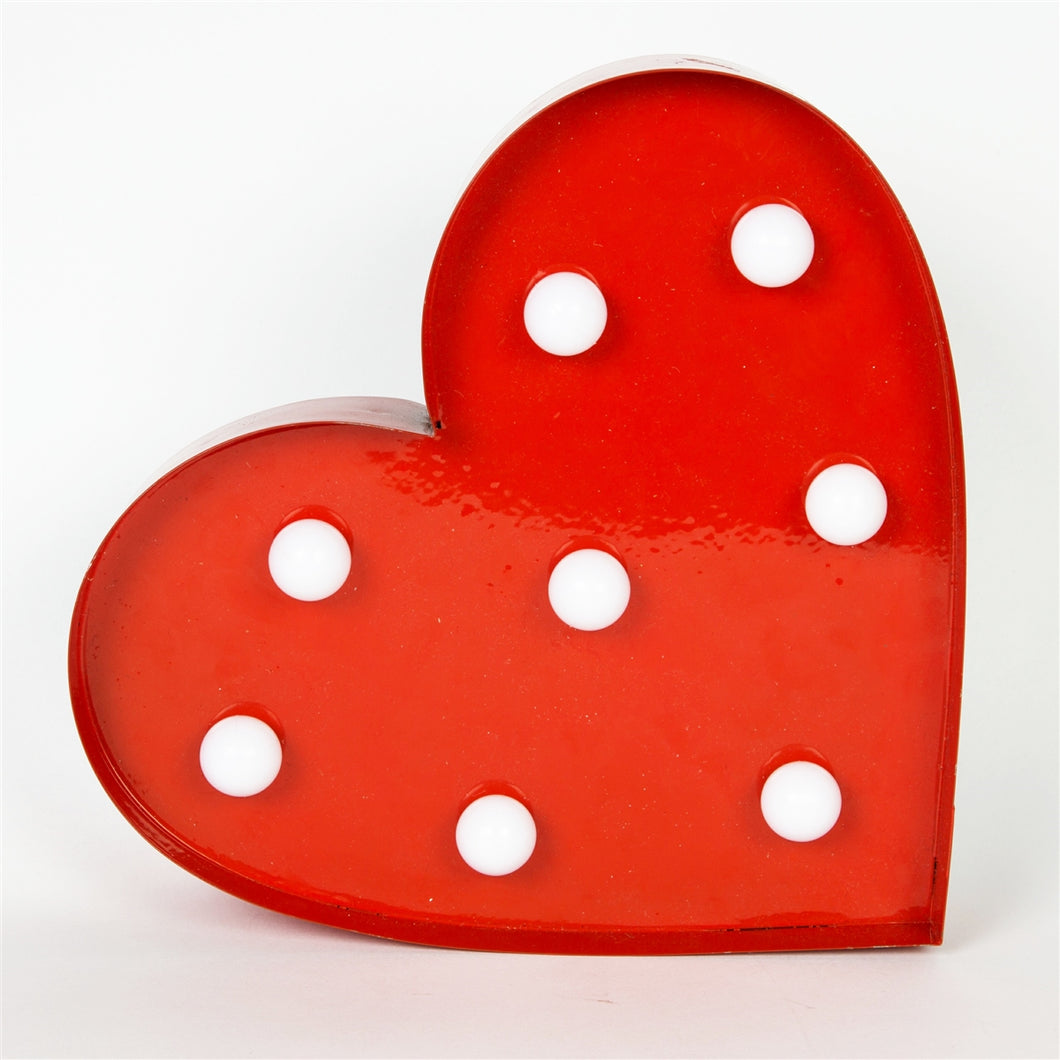 Illuminated Red Heart Carnival Style LED Wall Light Battery Operated-The Useful Shop