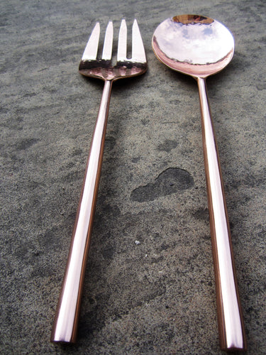 Rose Gold Hammered Metal Salad Servers in Gift Box by Shoeless Joe
