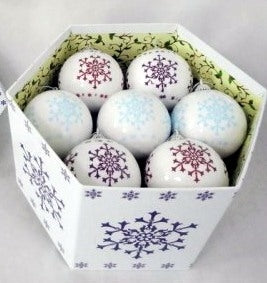 Luxury White Snowflake Design Christmas 12 Baubles Box set-The Useful Shop