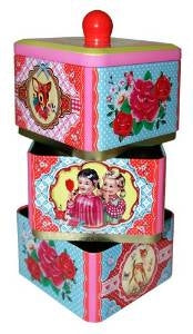 Cotton Candy Triple Keepsake Box Tiffin Style Tin