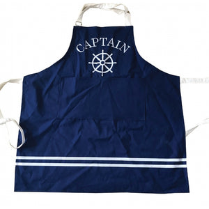Nautical Blue Captains Chefs Cotton Apron