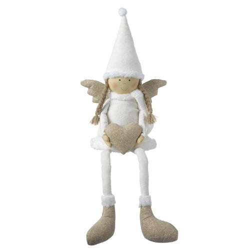 Large Cute White & Gold Angel with Heart Christmas Shelf Sitter Decoration-The Useful Shop