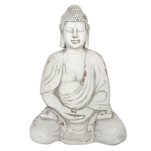 Extra Large Oriental Sitting Buddah Garden Statue 69cm for Garden or Indoors - White-The Useful Shop