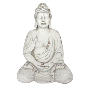 Extra Large Oriental Sitting Buddah Garden Statue 69cm for Garden or Indoors - White