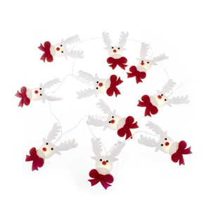 Fabric Reindeer Red & White Battery Operated LED Christmas Light Garland-The Useful Shop