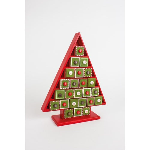 Red and Green Wooden Tree Advent Calendar-The Useful Shop