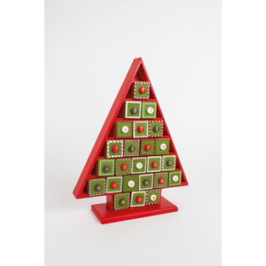 Red and Green Wooden Tree Advent Calendar