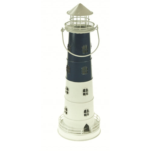 Large blue white metal lighthouse lantern