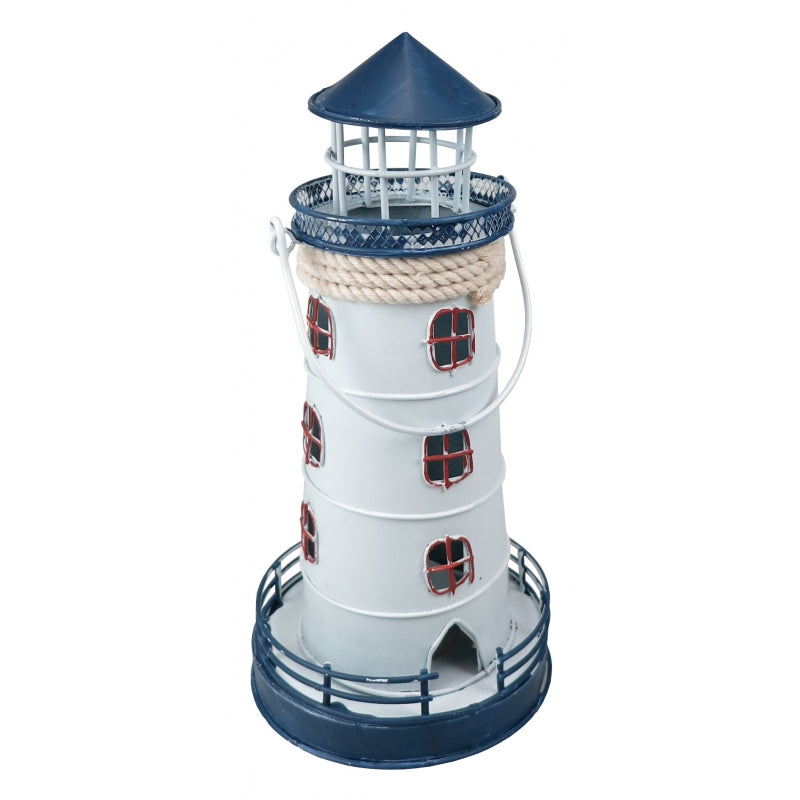 Medium blue white metal lighthouse lantern