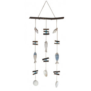 Seaside fishes driftwood wind chime mobile