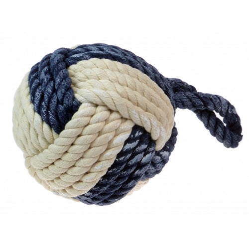Large Monkey Fist Blue and White Nautical Rope Door Stop