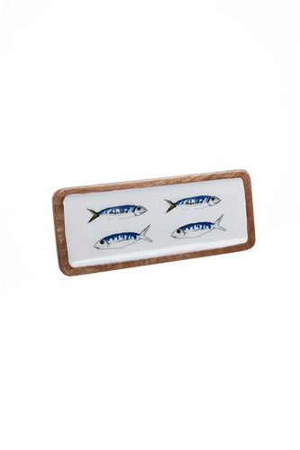 Blue & White Mackerel Design Wood & Melamine Platter by Shoeless Joe