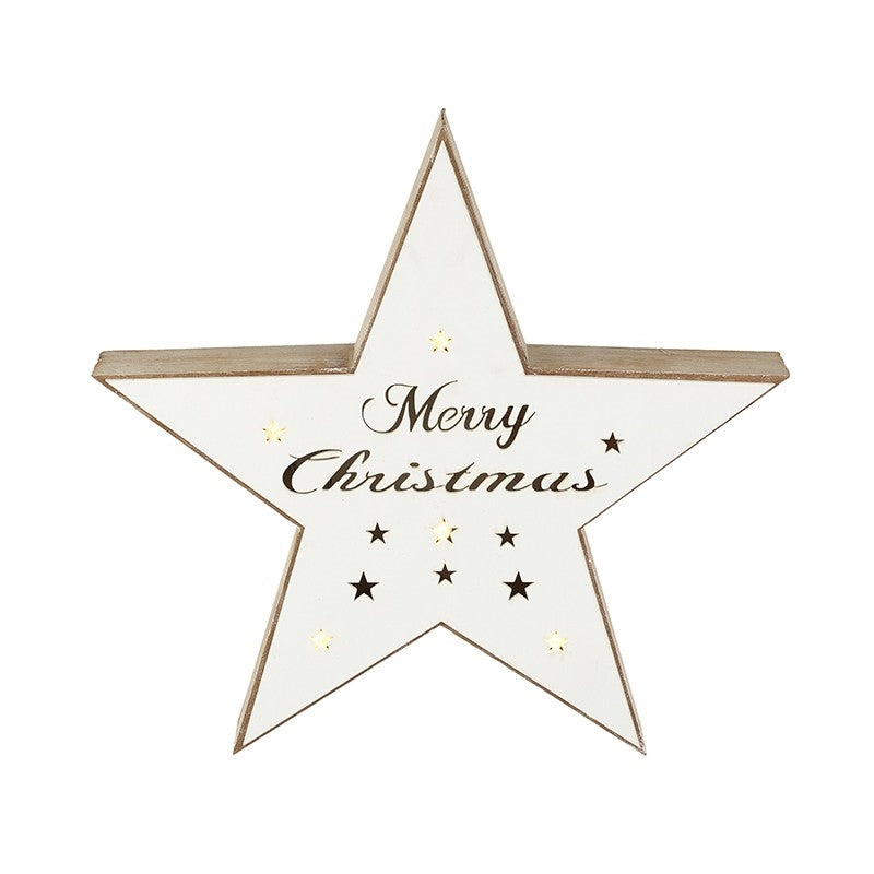 White Merry Christmas Light Up Wooden Star Led Battery Operated Displa
