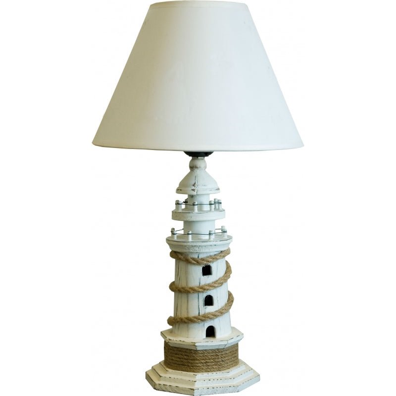 Wooden Lighthouse Feature Table Lamp