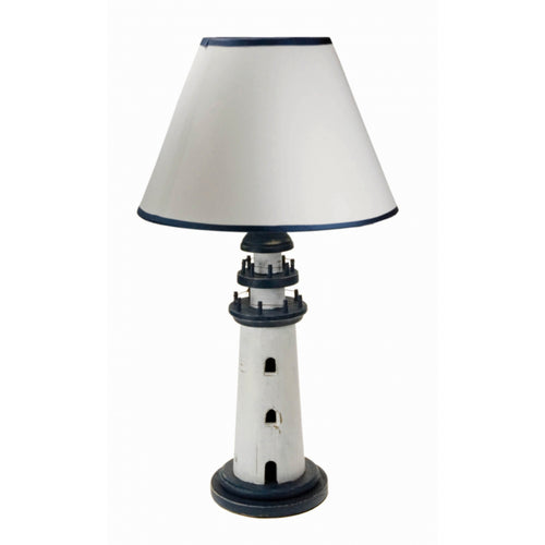 Wooden Blue and White Lighthouse Nautical Lamp Base with Shade