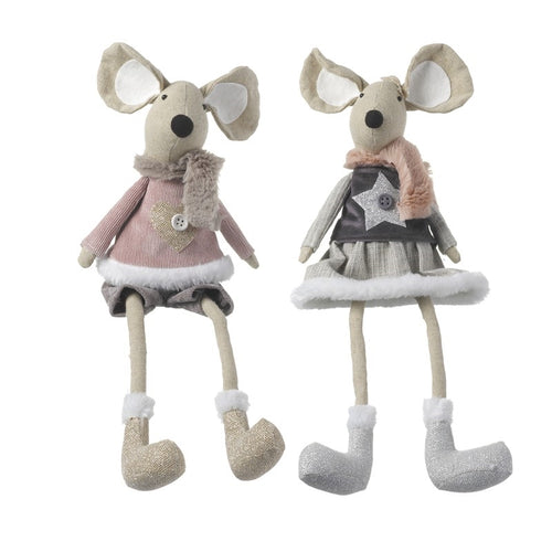 Set of 2 Cute Christmas Shelf Sitting Fabric Mice Figures with Winter Outfits-The Useful Shop